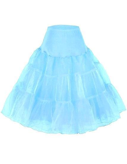 """Women's 50s Vintage Rockabilly Petticoat 25"""" Length Colorful Underskirt A Line Tulle Party Petticoat For Short Party Tutu Dresses 197423"""
