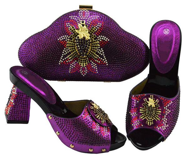Gorgeous purple women pumps with rhinestone style african shoes match handbag set for dress JZS-04,heel 9CM