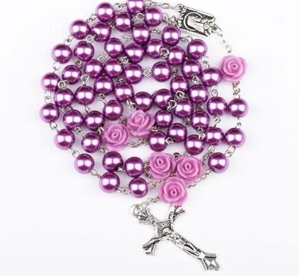 10 Unids Moda Religiosa Simulado Granos de la Perla Púrpura Rosa Católica Rosario Rosario Collar Largo Collares de Hebra Jesús Regalo de La Joyería