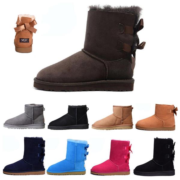 Ugg designer de moda botas de neve menina Castanha preto gravata borboleta no tornozelo arco curto de inicialização das mulheres botas de pele do inverno
