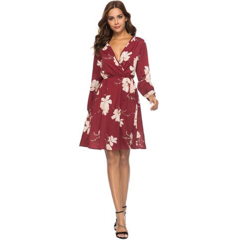 Womens Casual Dress Spring Sexy V-neck and Long-sleeved Printed Chiffon Dress A-line Womens Dress with 3 Colors