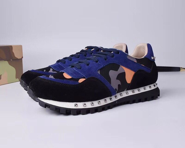2019 Bahar ve yaz yeni V ev kamuflaj rahat erkekler ve kadınlar çift spor ayakkabı perçinler dantel deri renk eşleştirme gelgit ayakkabı 89601