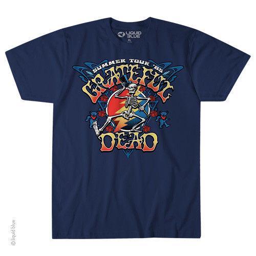 Nuovo GRADEFUL DEAD ESTATE STRUTTING SKELLY TOUR LICENSED BAND T Shirt Uomo Donna Unisex Moda tshirt Spedizione Gratuita nero