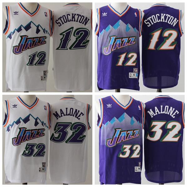 18f6148b6e5 12 John Stockton 32 Karl Malone Utah mens Jazzs Mitchell & Ness 1996-97  Swingman