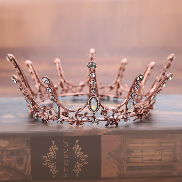 Vintage Baroque Round Crown Bridal Wedding Hair Accessories Crystal Rhinestone Big Hair Jewelry Wedding Pageant King Queen Tiara Y19061703