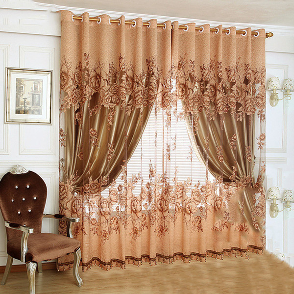 best selling New European Design Purple Coffee Curtain Kitchen 3d Curtains Multicolored Nice Curtain for Living Room Fabrics