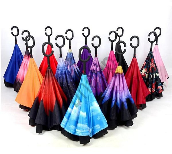 Creative Inverted Umbrellas Double Layer With C Handle Inside Out Covering Cloth Windproof Umbrella 84 Design