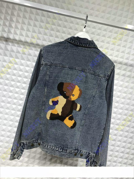 stickerei beflockung bär brief herbst designer marke kleidung jean jacke für männer denim jacken mantel frauen kleidung oberbekleidung
