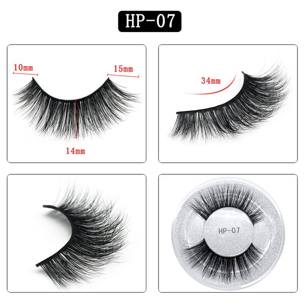 3D mink hair false eyelashes HP07 single pair round box packaging eyelashes Europe and the United States thick natural factory direct sales