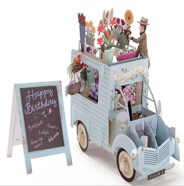 3D çocuklar doğum günü kartı Yaratıcı Renkli Çiçek Araba Tebrik Kartı Zarf Kartpostal Hollow heykel zarif tebrik kartı