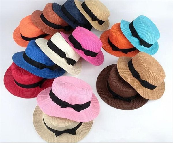 c469ef8f4a2e9 30pcs Man Women Straw Hat Summer Beach Hats Children And Adult Size Flat  Top Straw Hat
