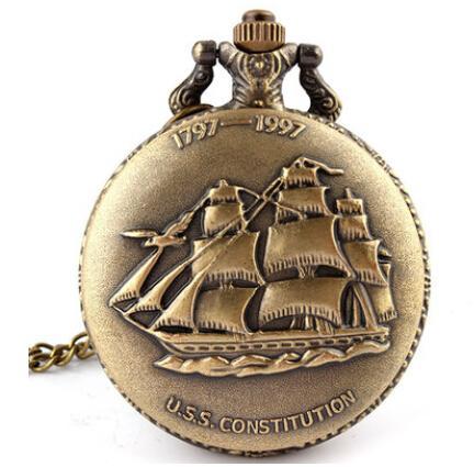 Steampunk Full Hunter Cuarzo Grabado Fob Retro Colgante Reloj de bolsillo Cadena de regalos USS Constitución Tema