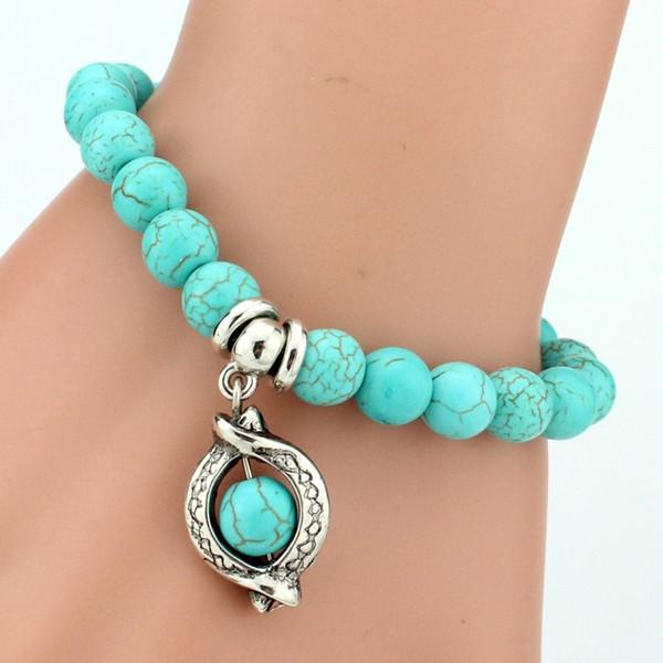 2018 Vintage Charm Bracelet Femme Bohemian Turquoise Bracelets & Bangles Pulseras Mujer Pendants Bracelets For Women Men Jewelry