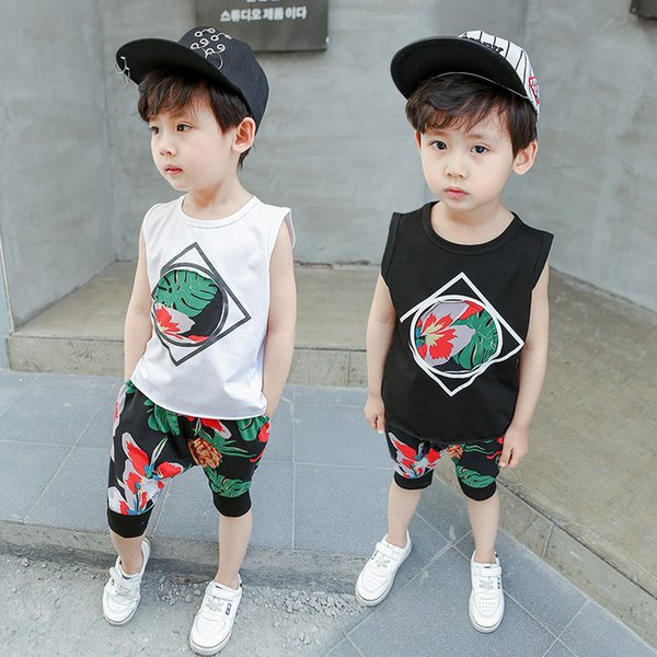 Boys Clothes Sets Summer Kids Fashion Cotton Sleeveless Vest+Shorts 2pcs Tracksuits For Baby Boys Children Casual Sports Suits Clothing