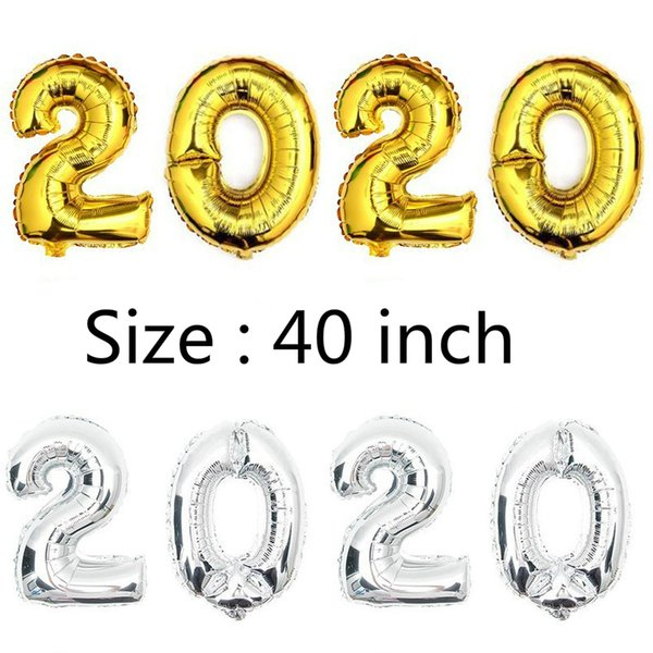 top popular 40 inch Gold Silver Number Foil Balloons for Wedding Party Decoration Happy Birthday Kids Balon Globos 2020