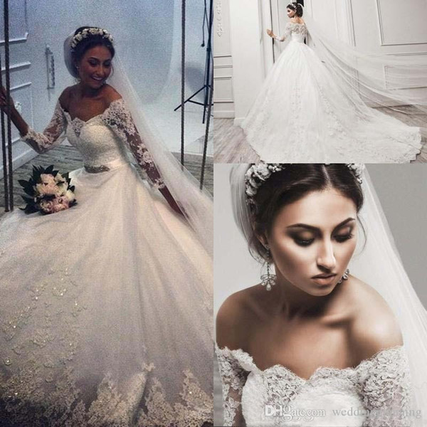 Elegant Wedding Dresses Lace Appliques Beads Illusion Long Sleeves Bridal Gowns Ball Gown Sweep Train Custom Made Wedding Dress 48