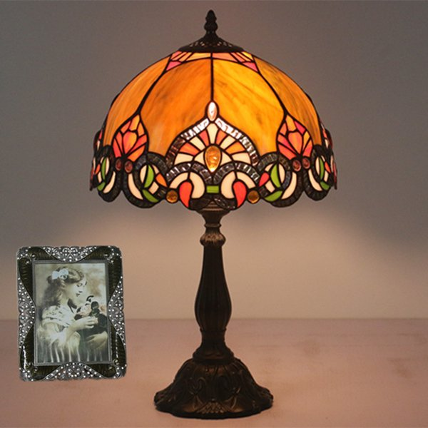 European Retro Bedside Table Lamps Handmade Stained Glass Desk Lamp Bedroom Study Restaurant Bar Cafe Lampe de table Dia30cm H49cm