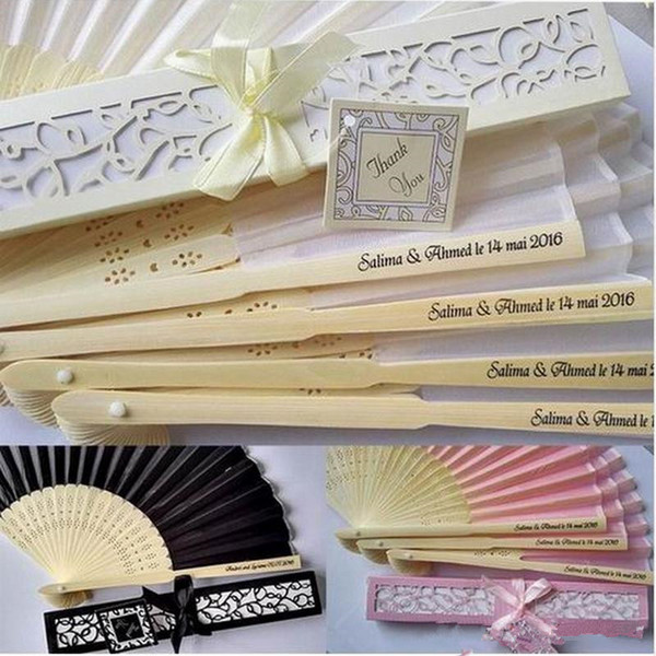 100 pcs Personalized Wedding Favors and Gifts for Guest Silk Fan Cloth Wedding Decoration Hand Folding Fans + Printing