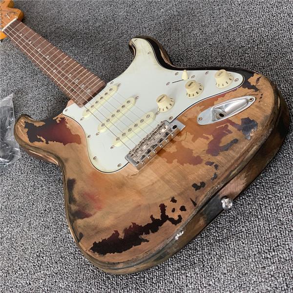 Ücretsiz Kargo STOK Antika, eski elektro gitar, Fade, vücut rengi, gerçek fotoğrafları, ücretsiz kargo yapmak. Toptan ve perakende 3TS