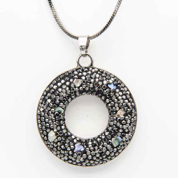 Black Rhinestone Alloy Clay Colorful Pearl Circle Pendant Chain Necklace Silver Color Couture Jewelry Valentine Gifts for Women Wholesale