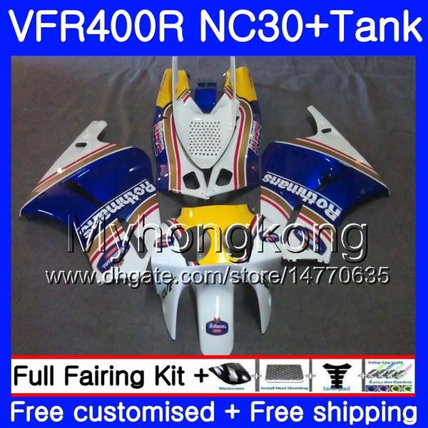 Kit per HONDA RVF400R VFR400 NC30 V4 VFR400R 89 90 91 92 93 269HM.20 RVF VFR 400 R VFR 400R 1989 1990 1991 1992 1993 Rothmans Blue Fairing