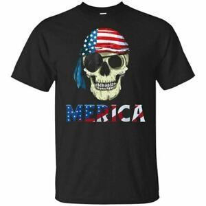 Pirate Merica 4th of July T-Shirt American Flag Skull Gift 2019 BlaCustom Navy S-5XL
