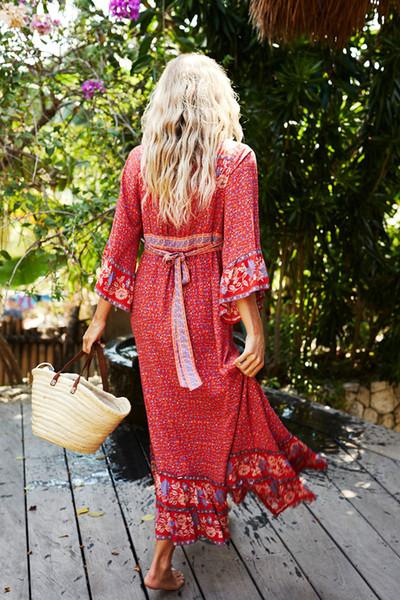 조정 가능한 벨트 집시 맥시 여성 드레스 vestidos와 A 라인 해변 보헤미아 드레스 2020 레드 레이온 꽃 무늬 여름 드레스 섹시한 V 넥