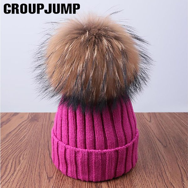 Pompoms Fur Knitted Winter Hats For Women Pom Poms Skullies Beanies Thick Winter Hats Fluffy Ball Female Beanies Caps Warm Hat S18120302