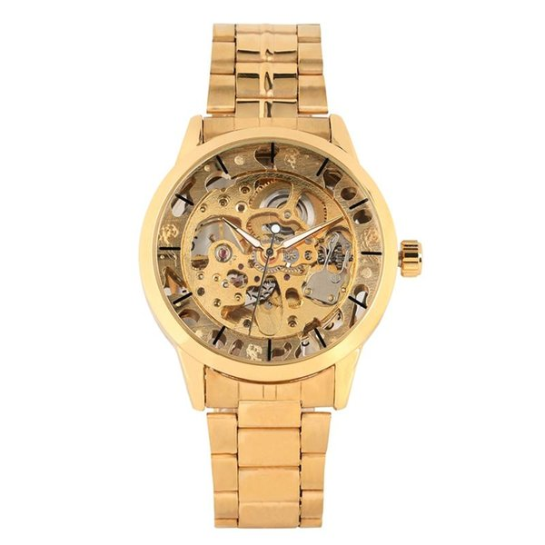 Practical Night Light Function Wristwatch Luxury Golden Frame Automatic-self-winding Watch for Men Stainless Steel Band Mechanical Watches