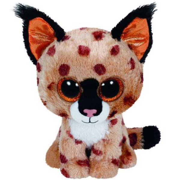 "Pyoopeo Ty Beanie Boos 6"" 15cm Buckwheat the Lynx Plush Regular Soft Big-eyed Stuffed Animal Wild Cat Collection Doll Toy"