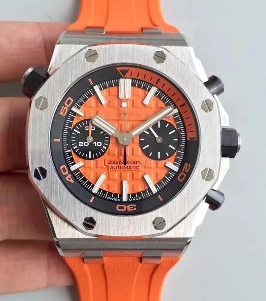 Nuevo reloj para hombre correa de caucho Royal Oak automático importado mecánico 316 caja de acero delicado transparente reloj trasero reloj de pulsera para hombre