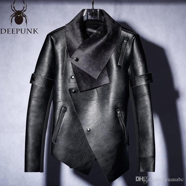 Nuevo 2018 de piel de invierno de terciopelo hombres y tendencia de la chaqueta de la motocicleta irregular de los hombres chaqueta de cuero delgada