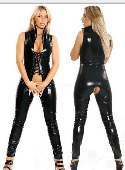 M-XXL Women Sexy Black PVC Latex Jumpsuit Faux Leather Open Crotch Bandage Catsuit Erotic DS Clubwear Pole Dance Bodysuit