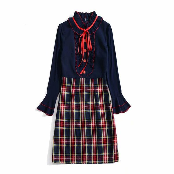 2019 Spring Long Sleeve Stand Neck Plaid Print With Ribbon Tie-Bow Lady Knee-Length Dress Luxury Runway Dresses N26K111706