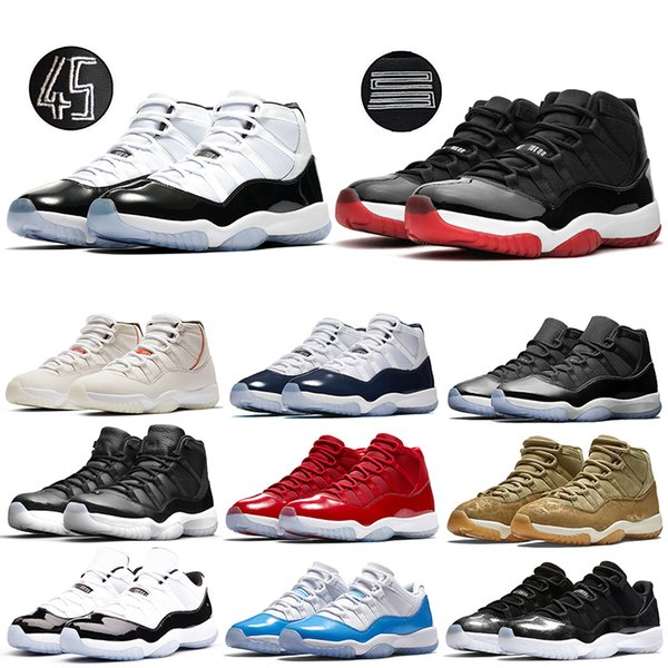 top popular 11s Concord 45 XI Win Like 82 Mens Basketball Shoes Resale Bred Space Jam Gamma Blue High Quality 11s Designer Sport Sneaker 2019