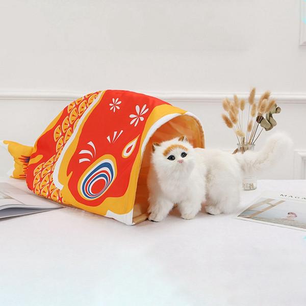 Juguetes para mascotas gato Diseño lindo del ratón Túneles Juguete para mascotas Gato Más Diversión Carpa de color Fácil Casa en camas Moda