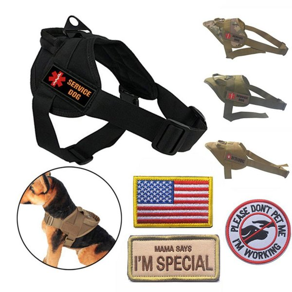 Adjustable Dog Vest for Walking Hiking Hunting Tactical Training Harness for Service Dog with random chapters