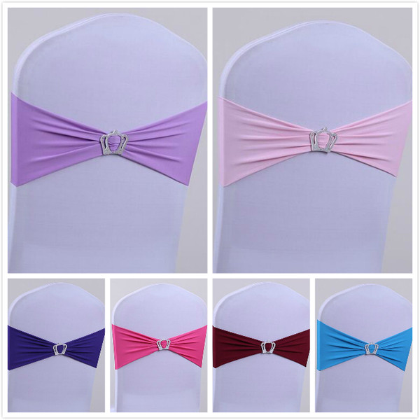 top popular 16 Colors wedding chair cover spandex Lycra chair cover sash bands crown shape chair buckle sash for home party meeting accessories 2019
