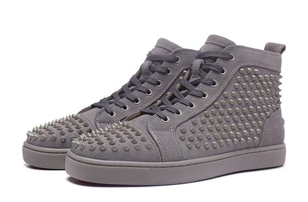 Designer nouveau mode haute nouveaux hommes gris avec des chaussures de luxe bas rouge chaussures de sport, baskets montantes femmes EU 35-47