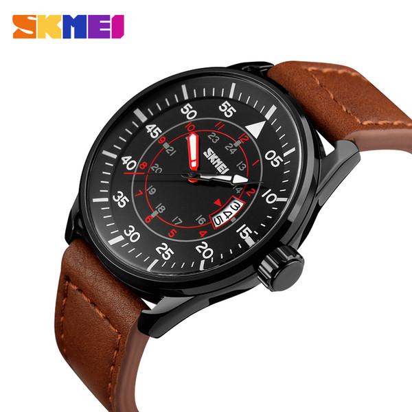 fashion jewelry watch SKMEI Men Quartz Watches 50M Waterproof Genuine Leather Wristwatches Man Relogio Masculino Fashion Casual Watch 9113