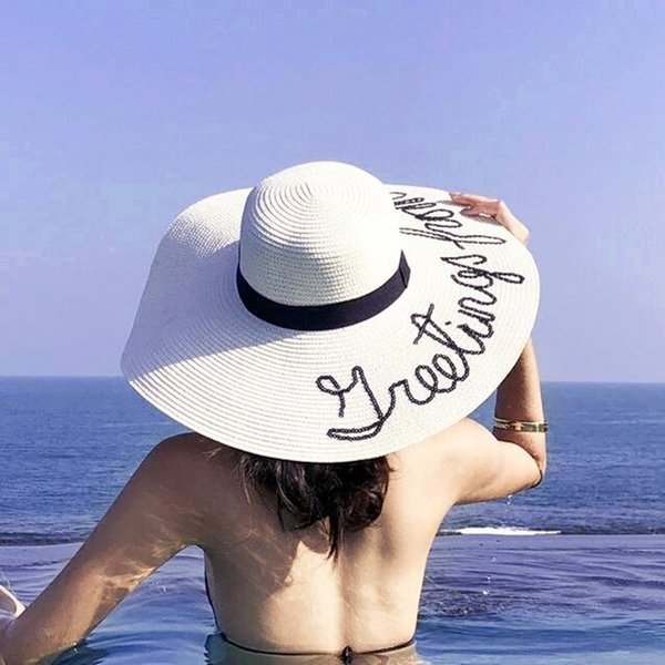 2019 Fashion summer Big wide brim straw hat Do not disturb letter sequin embroidery beach hat girls sun hats for women