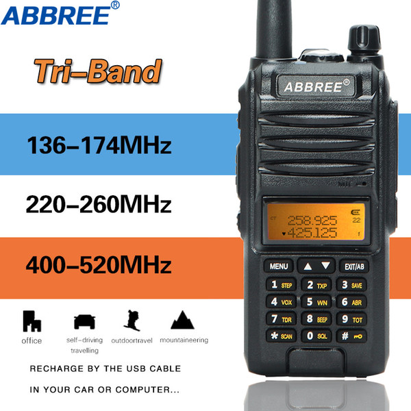 best selling 2020 Abbree AR-F3 Tri-Band 8w Walkie Talkie uhf vhf 220-260MHz ham long range handheld two way cb radio Transceiver Hiking uv-5r