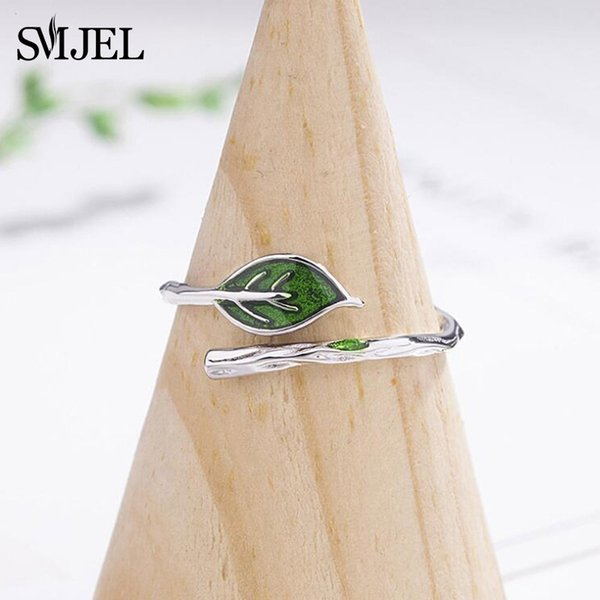 Cheap SMJEL New Green Leaf Branch Rings for Women Open Adjustable Finger Rings lovely Jewelry Vintage Vine Leaf Ring anillos