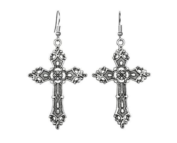 Hot Sale Vintage Silver Cross Earring Punk Gothic Dangle Long Earring Pendant Christian Faith Earrings Fashion Women Jewelry Party Gifts