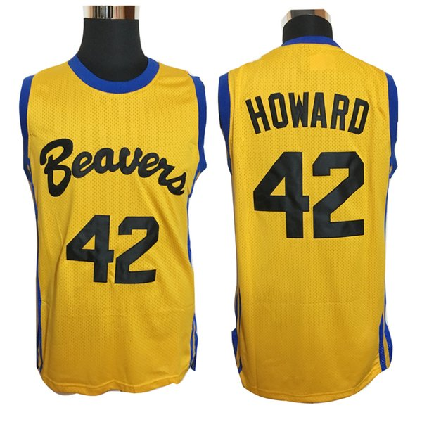 Mens Cheap College Basketball Jerseys #42 Howard Beavers Jersey Teen Wolf Retro Movie Stitched Basketball Shirt