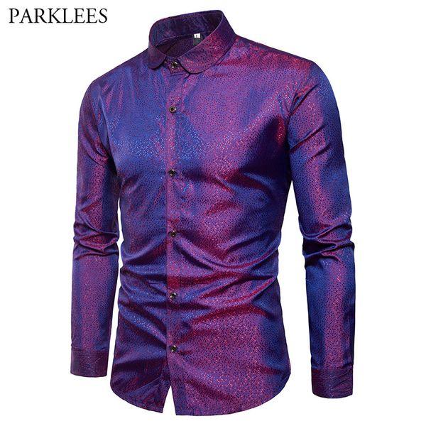 Brillante camisa púrpura del punto del satén de seda de los hombres Penny Marca cuello delgado apto de las camisas de vestir fiesta de la boda Mens Club Social causal camisa masculina