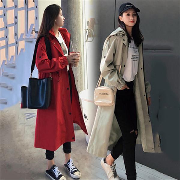 2019 New Spring Autumn Trench Coats Women's Clothing Korean Waist Chic Hooded Outerwear Large Size Long Windbreaker Female XA36