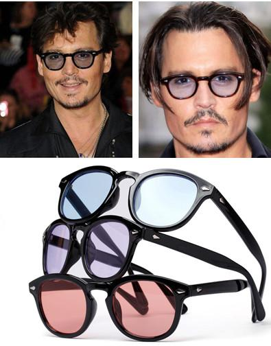 1ff56a511d Colored Tinted Fashion Eyeglasses Frame Vintage Retro Clear Lens Johnny  Depp Sunglasses outdoor working UV400 100%