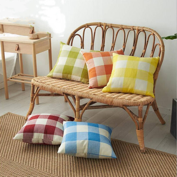 best selling Plaid Pillow Covers Classic Check Throw Pillow Case Linen Decorative Pillowcase Sofa Couch Cushion Cover Bedding Supplies 14 Designs D6327