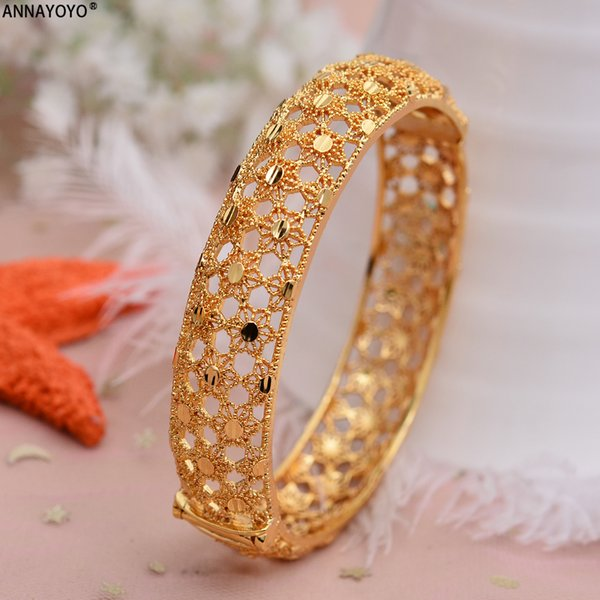 Annayoyo 1PCS Bangles for Women Gold Color African Twisted Bangles and Bracelets Arab Ethiopian Jewelry Fashion